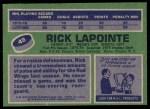 1976 Topps #48  Rick Lapointe  Back Thumbnail