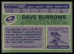 1976 Topps #83  Dave Burrows  Back Thumbnail