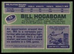 1976 Topps #73  Bill Hogaboam  Back Thumbnail