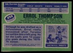 1976 Topps #259  Errol Thompson  Back Thumbnail