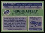 1976 Topps #63  Chuck Lefley  Back Thumbnail