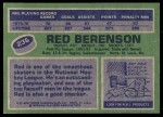 1976 Topps #236  Red Berenson  Back Thumbnail
