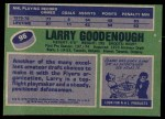 1976 Topps #96  Larry Goodenough  Back Thumbnail