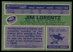 1976 Topps #162  Jim Lorentz  Back Thumbnail
