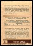 1977 O-Pee-Chee WHA #54  Norm Dube  Back Thumbnail