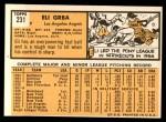 1963 Topps #231  Eli Grba  Back Thumbnail