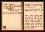 1967 Philadelphia #161  Charley Johnson  Back Thumbnail