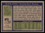 1972 Topps #50  Floyd Little  Back Thumbnail