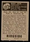 1951 Topps Ringside #22  Beau Jack  Back Thumbnail