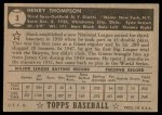 1952 Topps #3 BLK Hank Thompson  Back Thumbnail