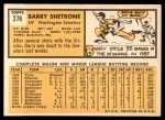 1963 Topps #276  Barry Shetrone  Back Thumbnail