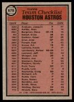 1981 Topps #678   Astros Team Checklist Back Thumbnail