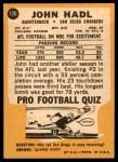 1967 Topps #120  John Hadl  Back Thumbnail
