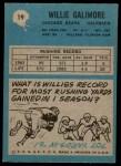 1964 Philadelphia #19  Willie Galimore  Back Thumbnail
