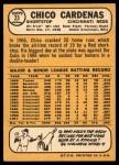 1968 Topps #23  Leo 'Chico' Cardenas  Back Thumbnail