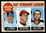 1968 Topps #12   -  Dean Chance / Jim Lonborg / Sam McDowell AL Strikeout Leaders Front Thumbnail