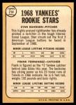 1968 Topps #214   -  Stan Bahnsen / Frank Fernandez Yankees Rookies Back Thumbnail