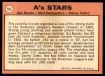 1969 Topps #556   -  Sal Bando / Bert Campaneris / Danny Cater A's Stars Back Thumbnail