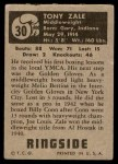 1951 Topps Ringside #30  Tony Zale  Back Thumbnail