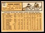 1963 Topps #316  Norm Sherry  Back Thumbnail