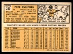 1963 Topps #230  Pete Runnels  Back Thumbnail