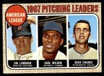 1968 Topps #10 COR  -  Dean Chance / Jim Lonborg / Earl Wilson AL Pitching Leaders Front Thumbnail