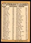 1968 Topps #11   -  Jim Bunning / Ferguson Jenkins / Gaylord Perry NL Strikeout Leaders Back Thumbnail