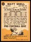 1967 Topps #102  Matt Snell  Back Thumbnail