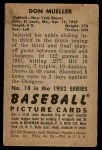 1952 Bowman #18  Don Mueller  Back Thumbnail
