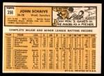 1963 Topps #356  John Schaive  Back Thumbnail