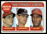 1969 Topps #11   -  Sam McDowell / Denny McLain / Luis Tiant AL Strikeout Leaders   Front Thumbnail