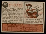 1962 Topps #300  Willie Mays  Back Thumbnail