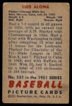 1951 Bowman #231  Luis Aloma  Back Thumbnail