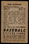 1952 Bowman #133  Dick Kryhoski  Back Thumbnail