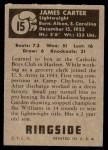 1951 Topps Ringside #15  James Carter  Back Thumbnail