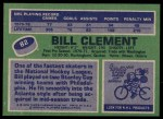 1976 Topps #82  Bill Clement  Back Thumbnail