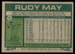 1977 Topps #56  Rudy May  Back Thumbnail