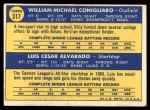1970 Topps #317   -  Luis Alvarado / Billy Conigliaro Red Sox Rookies Back Thumbnail