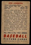 1951 Bowman #293  Ken Johnson  Back Thumbnail