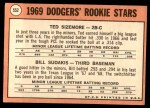 1969 Topps #552   -  Ted Sizemore / Bill Sudakis Dodger's Rookies Back Thumbnail
