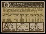 1961 Topps #125  Steve Barber  Back Thumbnail