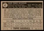 1952 Topps #67 BLK Allie Reynolds  Back Thumbnail