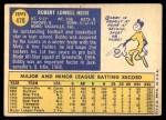 1970 Topps #478  Bob Heise  Back Thumbnail