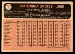 1966 Topps #131   Angels Team Back Thumbnail