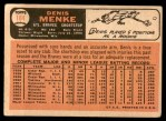 1966 Topps #184  Denis Menke  Back Thumbnail