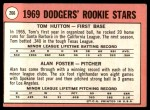 1969 Topps #266   -  Alan Foster / Tommy Hutton Dodgers Rookies   Back Thumbnail