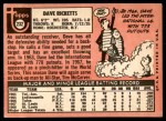1969 Topps #232  Dave Ricketts  Back Thumbnail