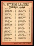 1969 Topps #9   -  Denny McLain / Luis Tiant / Dave McNally / Mel Stottlemyre AL Pitching Leaders Back Thumbnail