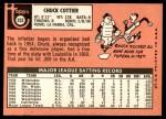 1969 Topps #252  Chuck Cottier  Back Thumbnail