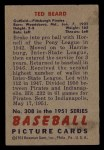 1951 Bowman #308  Ted Beard  Back Thumbnail
